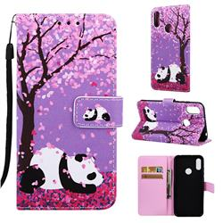 Cherry Blossom Panda Matte Leather Wallet Phone Case for Huawei Honor 8A