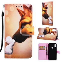 Hound Kiss Matte Leather Wallet Phone Case for Huawei Honor 8A