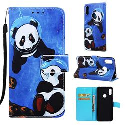 Undersea Panda Matte Leather Wallet Phone Case for Huawei Honor 8A