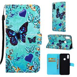 Love Butterfly Matte Leather Wallet Phone Case for Huawei Honor 8A
