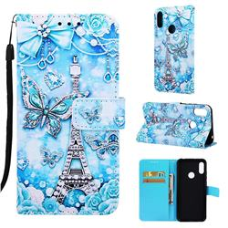 Tower Butterfly Matte Leather Wallet Phone Case for Huawei Honor 8A