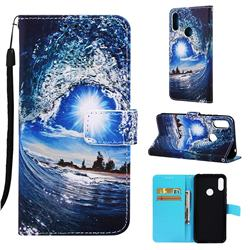 Waves and Sun Matte Leather Wallet Phone Case for Huawei Honor 8A