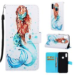 Mermaid Matte Leather Wallet Phone Case for Huawei Honor 8A