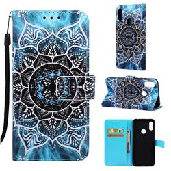Underwater Mandala Matte Leather Wallet Phone Case for Huawei Honor 8A