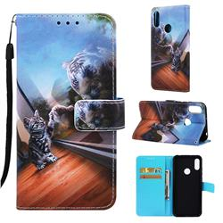 Mirror Cat Matte Leather Wallet Phone Case for Huawei Honor 8A