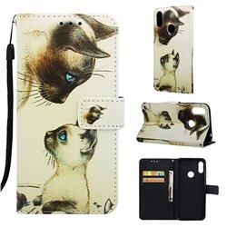Cat Confrontation Matte Leather Wallet Phone Case for Huawei Honor 8A