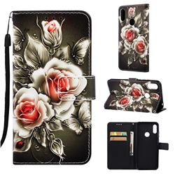 Black Rose Matte Leather Wallet Phone Case for Huawei Honor 8A