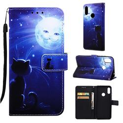 Cat and Moon Matte Leather Wallet Phone Case for Huawei Honor 8A