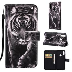 Black and White Tiger Matte Leather Wallet Phone Case for Huawei Honor 8A