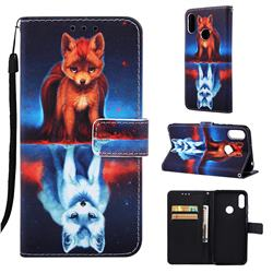 Water Fox Matte Leather Wallet Phone Case for Huawei Honor 8A