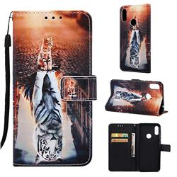 Cat and Tiger Matte Leather Wallet Phone Case for Huawei Honor 8A