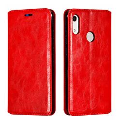 Retro Slim Magnetic Crazy Horse PU Leather Wallet Case for Huawei Honor 8A - Red