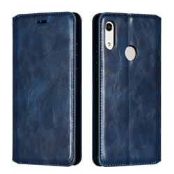 Retro Slim Magnetic Crazy Horse PU Leather Wallet Case for Huawei Honor 8A - Blue
