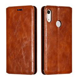 Retro Slim Magnetic Crazy Horse PU Leather Wallet Case for Huawei Honor 8A - Brown