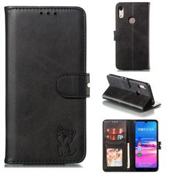 Embossing Happy Cat Leather Wallet Case for Huawei Honor 8A - Black