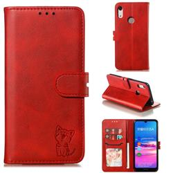 Embossing Happy Cat Leather Wallet Case for Huawei Honor 8A - Red