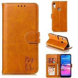 Embossing Happy Cat Leather Wallet Case for Huawei Honor 8A - Yellow