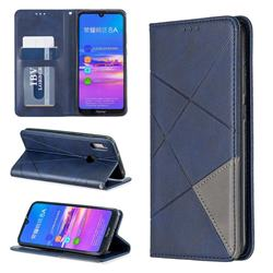 Prismatic Slim Magnetic Sucking Stitching Wallet Flip Cover for Huawei Honor 8A - Blue