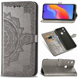 Embossing Imprint Mandala Flower Leather Wallet Case for Huawei Honor 8A - Gray
