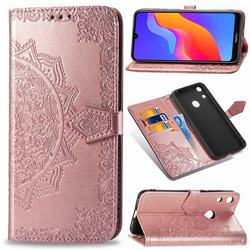 Embossing Imprint Mandala Flower Leather Wallet Case for Huawei Honor 8A - Rose Gold