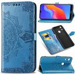 Embossing Imprint Mandala Flower Leather Wallet Case for Huawei Honor 8A - Blue