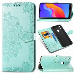 Embossing Imprint Mandala Flower Leather Wallet Case for Huawei Honor 8A - Green