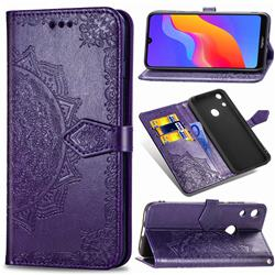 Embossing Imprint Mandala Flower Leather Wallet Case for Huawei Honor 8A - Purple