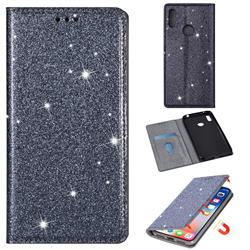Ultra Slim Glitter Powder Magnetic Automatic Suction Leather Wallet Case for Huawei Honor 8A - Gray