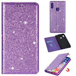 Ultra Slim Glitter Powder Magnetic Automatic Suction Leather Wallet Case for Huawei Honor 8A - Purple