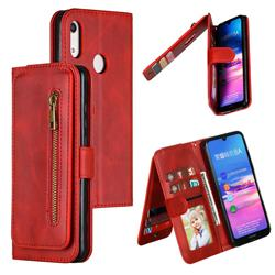 Multifunction 9 Cards Leather Zipper Wallet Phone Case for Huawei Honor 8A - Red
