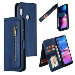 Multifunction 9 Cards Leather Zipper Wallet Phone Case for Huawei Honor 8A - Blue
