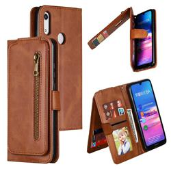 Multifunction 9 Cards Leather Zipper Wallet Phone Case for Huawei Honor 8A - Brown