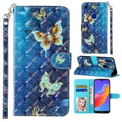 Rankine Butterfly 3D Leather Phone Holster Wallet Case for Huawei Honor 8A