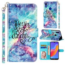 Blue Starry Sky 3D Leather Phone Holster Wallet Case for Huawei Honor 8A
