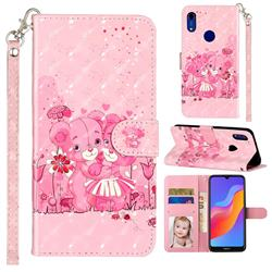 Pink Bear 3D Leather Phone Holster Wallet Case for Huawei Honor 8A