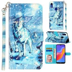 Snow Wolf 3D Leather Phone Holster Wallet Case for Huawei Honor 8A