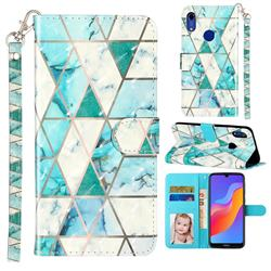 Stitching Marble 3D Leather Phone Holster Wallet Case for Huawei Honor 8A