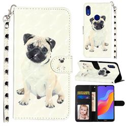 Pug Dog 3D Leather Phone Holster Wallet Case for Huawei Honor 8A