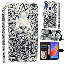 White Leopard 3D Leather Phone Holster Wallet Case for Huawei Honor 8A