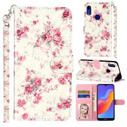 Rambler Rose Flower 3D Leather Phone Holster Wallet Case for Huawei Honor 8A