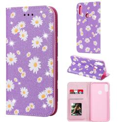 Ultra Slim Daisy Sparkle Glitter Powder Magnetic Leather Wallet Case for Huawei Honor 8A - Purple