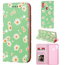 Ultra Slim Daisy Sparkle Glitter Powder Magnetic Leather Wallet Case for Huawei Honor 8A - Green