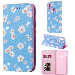 Ultra Slim Daisy Sparkle Glitter Powder Magnetic Leather Wallet Case for Huawei Honor 8A - Blue