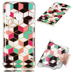 Three-dimensional Square Soft TPU Marble Pattern Phone Case for Huawei Honor 8C