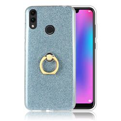 Luxury Soft TPU Glitter Back Ring Cover with 360 Rotate Finger Holder Buckle for Huawei Honor 8C - Blue