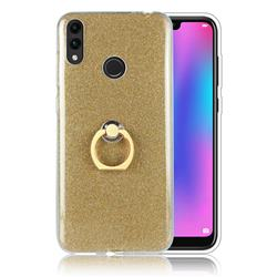 Luxury Soft TPU Glitter Back Ring Cover with 360 Rotate Finger Holder Buckle for Huawei Honor 8C - Golden
