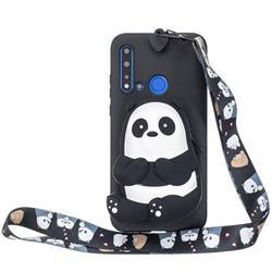Cute Panda Neck Lanyard Zipper Wallet Silicone Case for Huawei Honor 8C