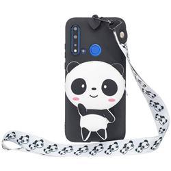White Panda Neck Lanyard Zipper Wallet Silicone Case for Huawei Honor 8C