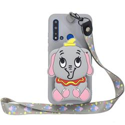 Gray Elephant Neck Lanyard Zipper Wallet Silicone Case for Huawei Honor 8C