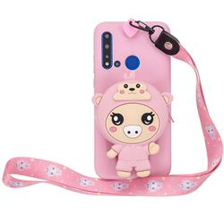 Pink Pig Neck Lanyard Zipper Wallet Silicone Case for Huawei Honor 8C